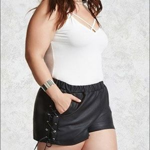 Forever 21 faux leather tie shorts sexy Halloween